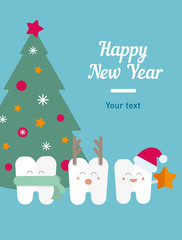 funny illustration, teeth and New Year