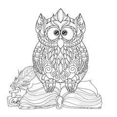 Old Owl on books- hand drawn doodle vector