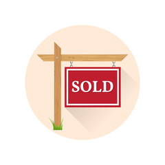 Sold Icon on the white background.