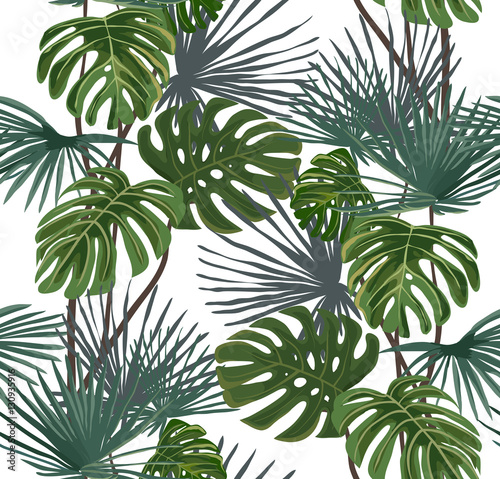 Tropical leaves on a white background. Seamless pattern.