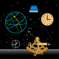 Astronomy set. How to use sextant. Sextant, watch, Nautical almanac, astronomical coordinates, stars.