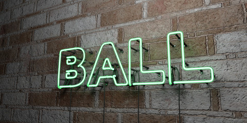BALL - Glowing Neon Sign on stonework wall - 3D rendered royalty free stock illustration.  Can be used for online banner ads and direct mailers..