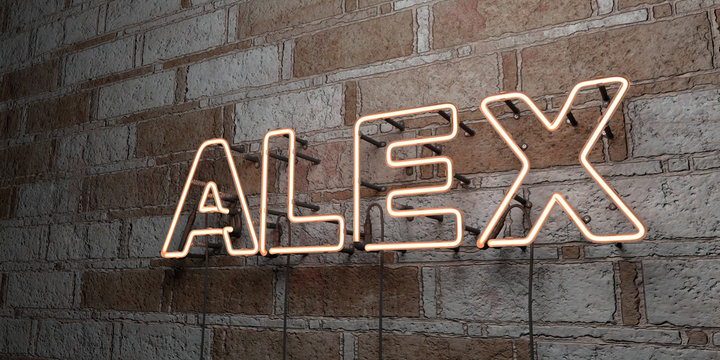 ALEX - Glowing Neon Sign on stonework wall - 3D rendered royalty free stock illustration.  Can be used for online banner ads and direct mailers..