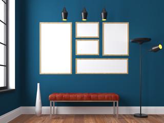 Mock up interior scene, bench, lamp, posters, 3d interior render