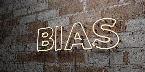 BIAS - Glowing Neon Sign on stonework wall - 3D rendered royalty free stock illustration.  Can be used for online banner ads and direct mailers..