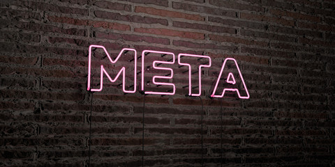 META -Realistic Neon Sign on Brick Wall background - 3D rendered royalty free stock image. Can be used for online banner ads and direct mailers..