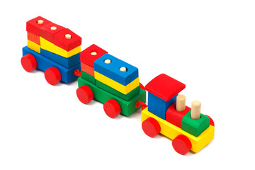 Wooden colorful toy train isolated on white background