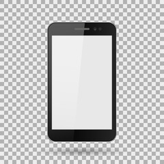 smartphone realistic, mobile phone with a blank screen, on isolate background, stylish vector illustration EPS10
