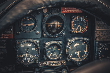 Vintage aircraft cockpit detail. Retro aviation, aircraft instru