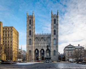Basilica of Notre-Dame of Montreal and Place d'Armes - Montreal, Quebec, Canada
