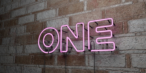 ONE - Glowing Neon Sign on stonework wall - 3D rendered royalty free stock illustration.  Can be used for online banner ads and direct mailers.. Wall mural