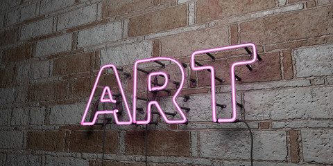ART - Glowing Neon Sign on stonework wall - 3D rendered royalty free stock illustration.  Can be used for online banner ads and direct mailers..