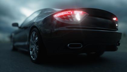 Black sport car on road, highway. Very fast driving. 3d rendering.