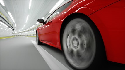 red sport car in a tunnel. fast driving. oil concept. 3d rendering.