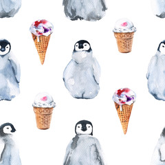 Background penguins. Seamless pattern. Watercolor illustration.