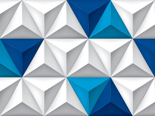 Vector triangles retro background, blue color inserts, mesh gradient, geometric wallpaper, gray pattern