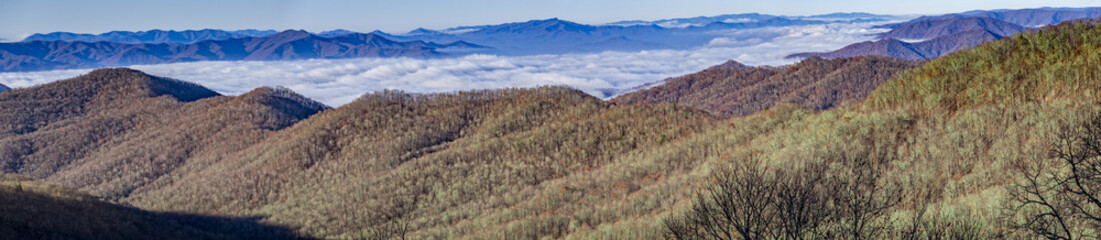 A panoramic view from the Blue Ridge Parkway, near Great Smoky Mountains National Park