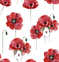 Seamless pattern of girls and poppies, watercolor
