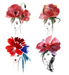 Set of four girls with red flowers, watercolor
