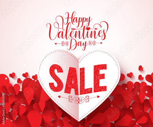 9f1b1a3c59 Valentines day sale text vector design for promotion with heart shape red  hot air balloon flying with hearts in white background. Vector illustration.