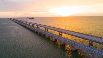 Sunrise Travel Concept Road Over Seven Mile Bridge Florida Keys