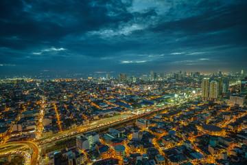 Manila city skyline nightview