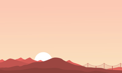 Mountain and bridge landscape of silhouettes