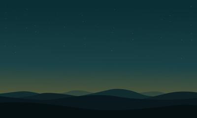 Silhouette of Desert nature landscape