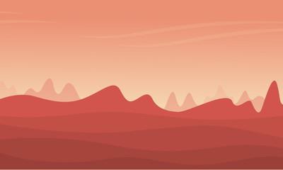 Illustration of mountain and desert landscape