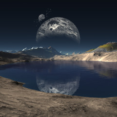 3d Created and Rendered Fantasy Alien Planet - Illustration