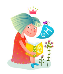 Princess girl reading book