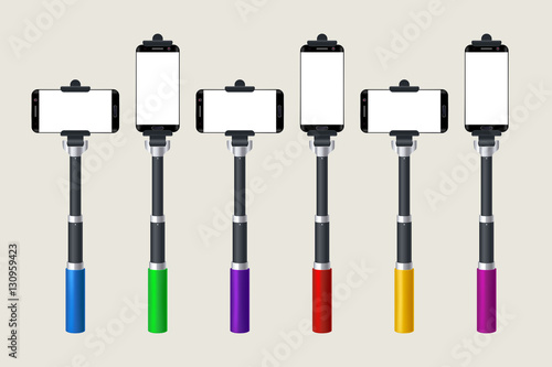 selfie stick set stock image and royalty free vector files on pic 130959423. Black Bedroom Furniture Sets. Home Design Ideas