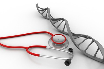 Dna structure with stethoscope