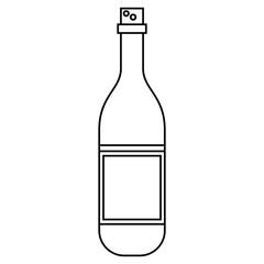 wine bottle with cork empty label outline vector illustration eps 10
