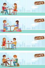 Couples of people in cafe. Vector Illustration with city landscape in window.