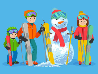 Happy family skiers with snowman. Vector illustration winter sport concept. People ski equipment in clothes
