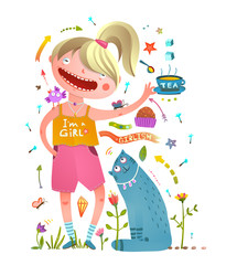 Girl and pet cat drinking tea girlish design elements