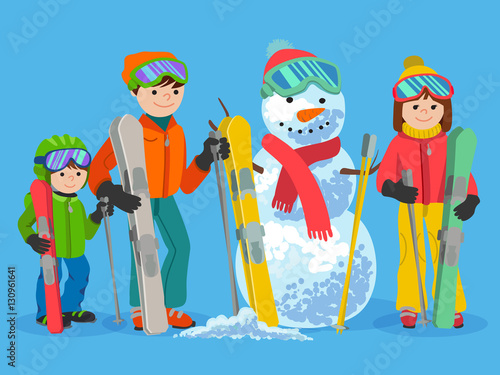 311ad93e67 Happy family skiers with snowman. Vector illustration winter sport concept. People  ski equipment in clothes