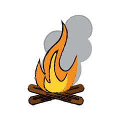 drawing campfire woods camping vector illustration eps 10