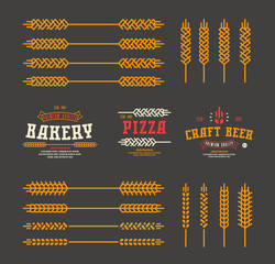 Set of stylized ear wheat. Template labels for bakery, pizza, be