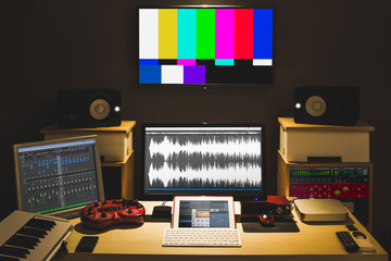 digital audio editing studio for TV broadcasting, spot ads, music recording, post production, film score composer