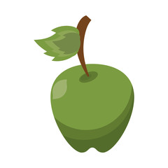 cartoon green apple leave fruit icon vector illustration eps 10