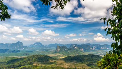 Spectacular view from the top to a mountain valley in Krabi, Thailand