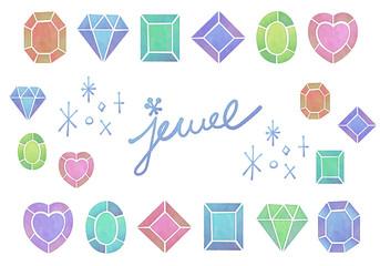 おしゃれでかわいいアナログ水彩画風 宝石・ラインストーンのアイコン セット 白背景