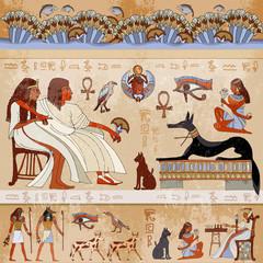 Ancient egypt scene. Egyptian gods and pharaohs