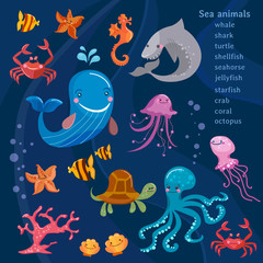 Sea animals cute collection octopus, fish, whale, jellyfish