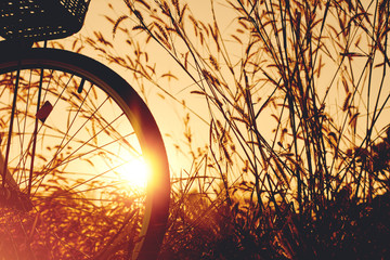 vintage bike  with beautiful landscape image on sunset.