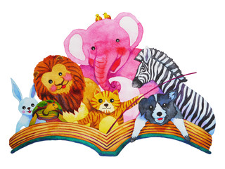set of cute funny animals pet and wildlife reading the book, for children, watercolor painting hand drawn design illustrations