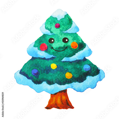 Cute Christmas Tree Watercolor Painting Hand Drawing Illustration