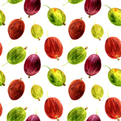 seamless pattern with watercolor drawing berries